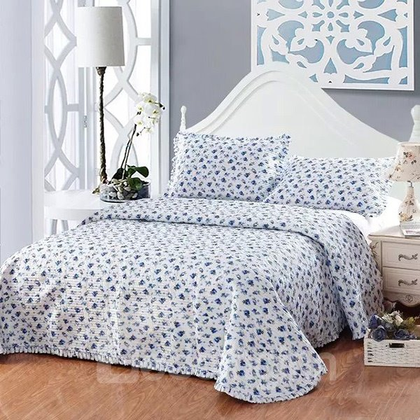 Graceful Blue Flowers Design European Style Cotton 3-Piece Bed in a Bag