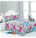 Contemporary Geometric Figure Design Gray 4-Piece Duvet Cover Sets