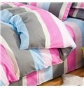 Concise Colorful Stripe Design 4-Piece Polyester Duvet Cover Sets