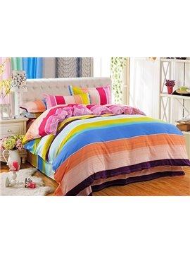 Irised Stripe Design 4-Piece Polyester Duvet Cover Sets