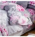 Big Pink Flowers Print Gray 4-Piece Polyester Duvet Cover Sets