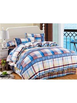Modern Concise Plaid Design 4-Piece Polyester Duvet Cover Sets