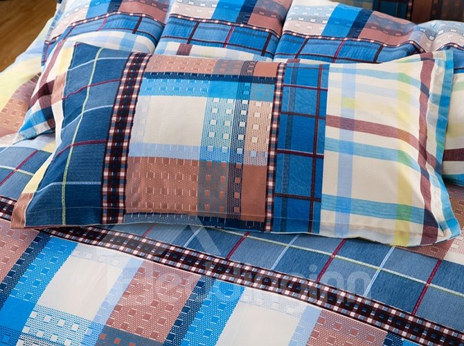 Modern Concise Plaid Design 4-Piece Polyester Duvet Cover Sets