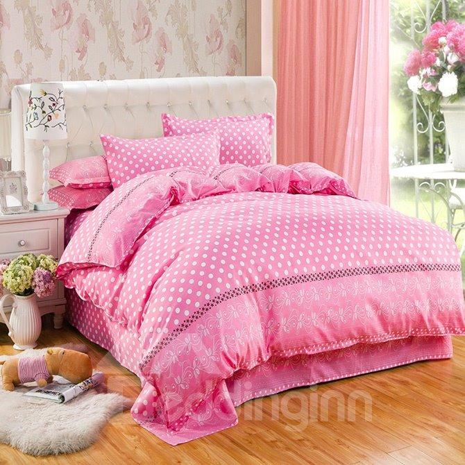 Likable Polka Dots Design Pink 4-Piece Duvet Cover Sets