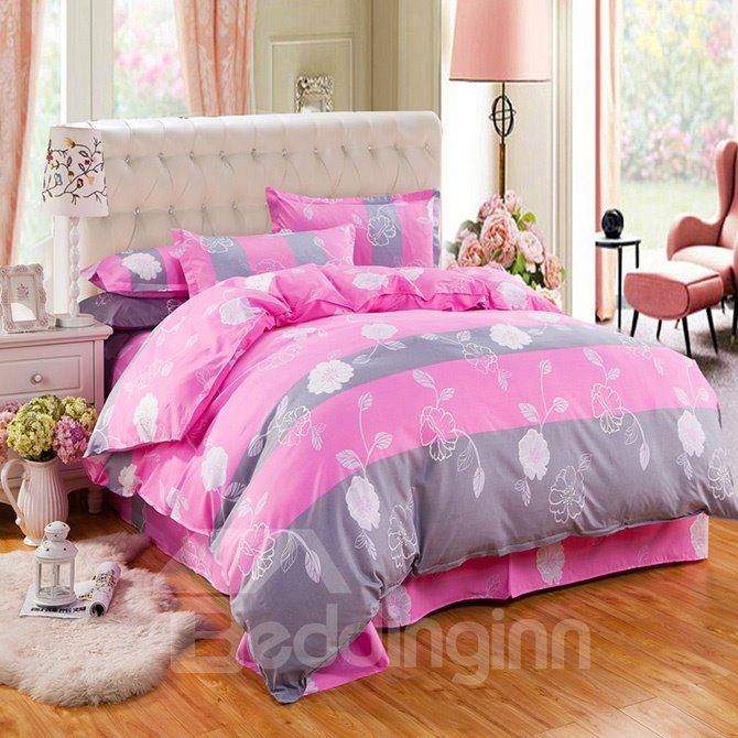 Cuddly Flowers Design Polyester 4-Piece Duvet Cover Sets