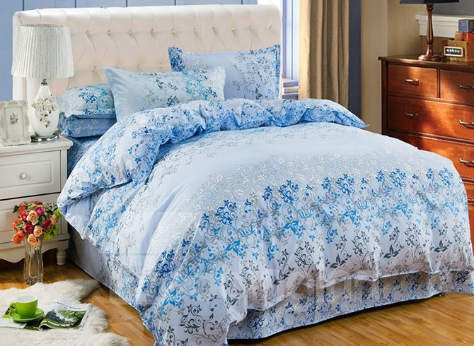 Elegant Flower Rattan Print Blue 4-Piece Duvet Cover Sets 11505588