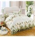 Refreshing Green Dandelion Print 4-Piece Polyester Duvet Cover Sets