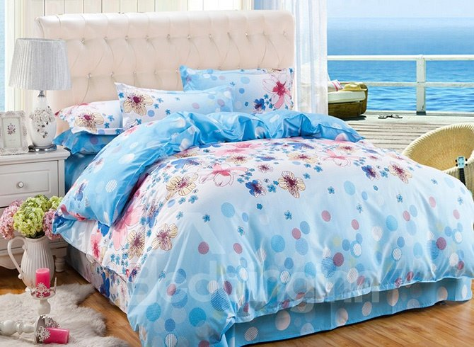 Polka Dots and Flowers Design Blue 4-Piece Polyester Duvet Cover Sets 11505602