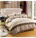 Royal Style Fashion Leopard Print Camel 4-Piece Duvet Cover Sets