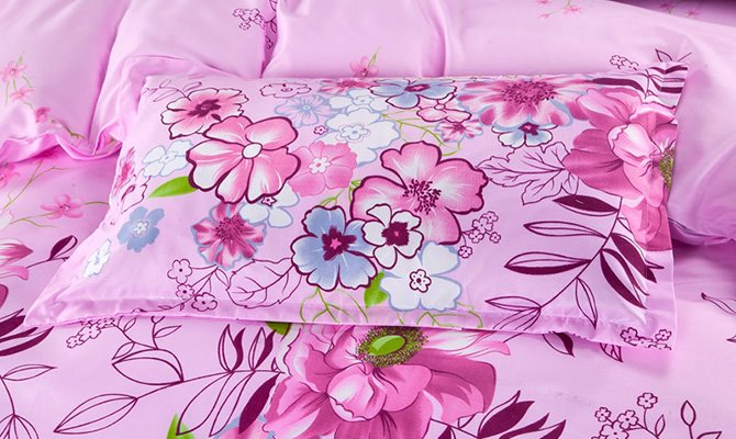 Lovely Colorful Flowers Design Pink Polyester 4-Piece Duvet Cover Sets