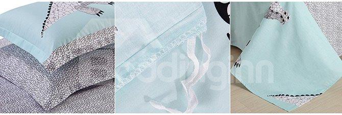 Light Blue Dinosaur Print Kids Duvet Cover Set