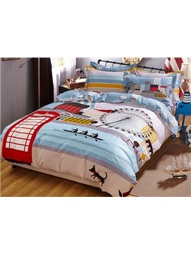 The Thames River Bank Theme Kids Duvet Cover Set