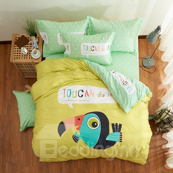 Super Lovely Big Mouth Bird Print Cotton Kids Duvet Cover Set