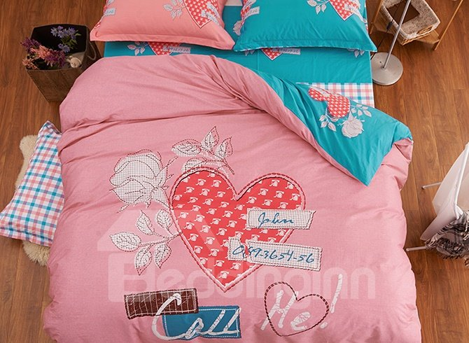 Pink Hearts and Flowers Print Kids Duvet Cover Set