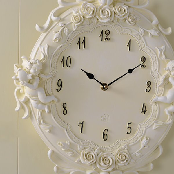 European Style Cute Angel Resin Mute Wall Clock