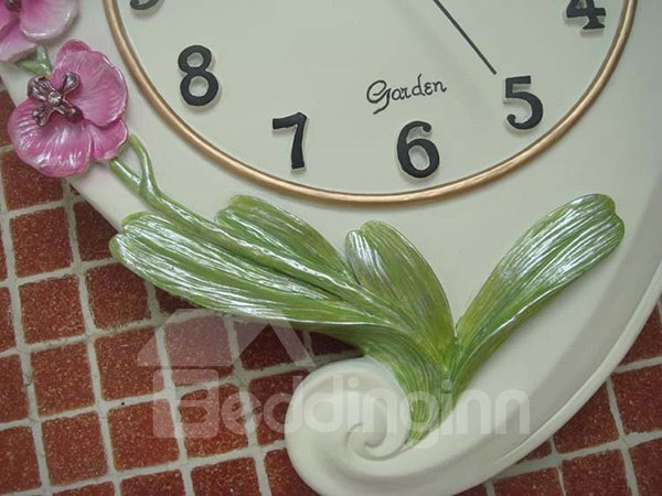 Gorgeous Decorative Orchid Pattern Resin Mute Wall Clock