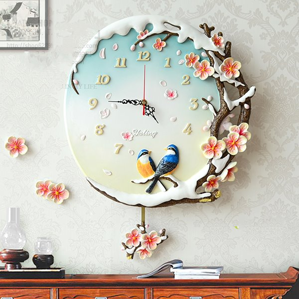 Pastoral Plum Blossom and Magpie Resin Wall Clock