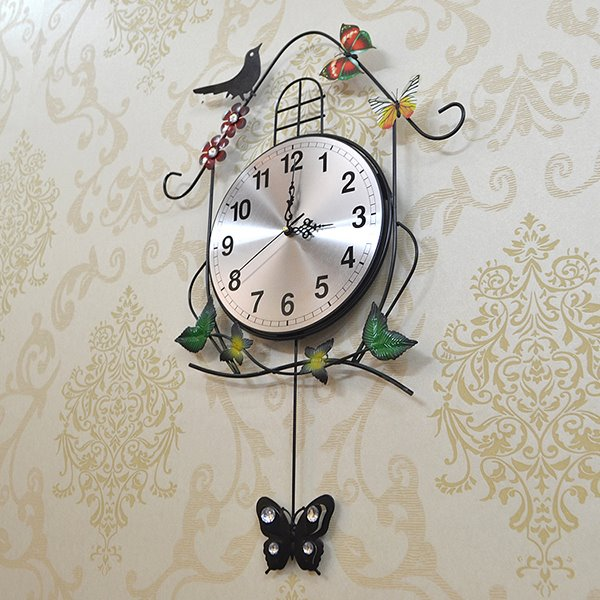 Creative Iron Birdhouse and Butterfly Decorative Wall Clock