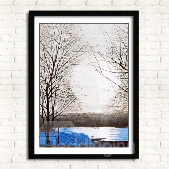 Modern Simple Winter Morning 3-Panel Framed Wall Prints