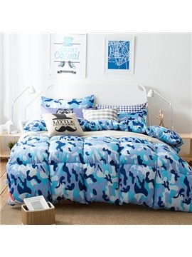 Chic Blue Camouflage Design Super Warm Polyester Quilt