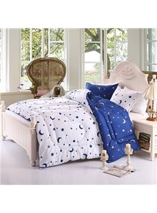 Fancy Stars Crescent Print Fluffy Polyester Quilt