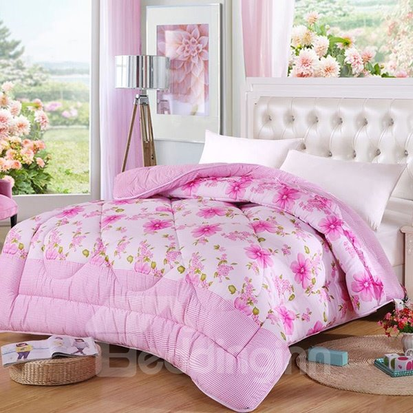 Refreshing Pink Flowers Print Polyester Winter Quilt