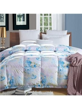 Gorgeous Blue Peony Print Fluffy Warm Down Quilt