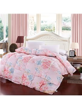 Sweet Flowers Print Plush Polyester Winter Quilt