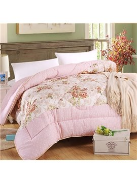 Pretty Flowers Print Fluffy Warm Polyester Quilt