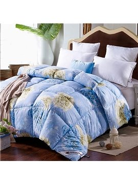 Elegant Flowers Print Blue Down Quilt for Winter