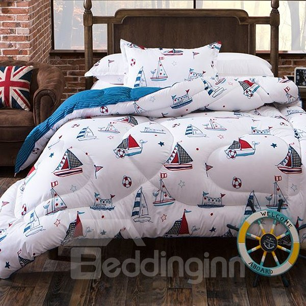 Sailing Boat Print Thick White Polyester Quilt