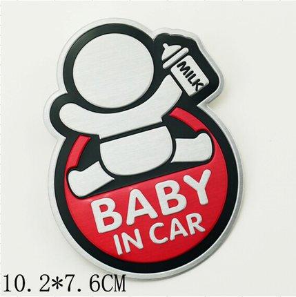 Creative Cartoon Printed Metal Baby In Car Sign Car Sticker
