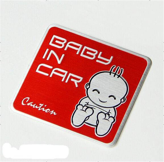 Cute Designed Metal Baby In Car Warning Car Sticker