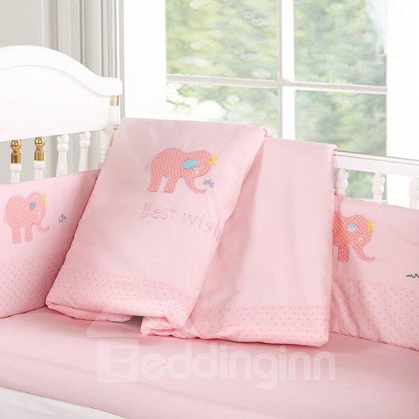 Bouncy Baby Pink Elephant Pattern 9-Piece Crib bedding Set