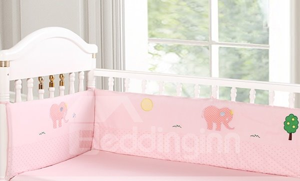 Bouncy Baby Pink Elephant Pattern 9-Piece Crib bedding Set