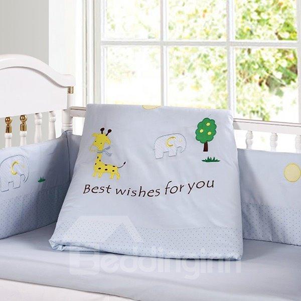 Lovely Giraffe and Elephant Pattern 9-Piece Crib bedding Set