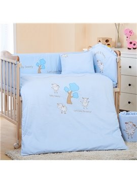 Blue Three Cute Sheep and Tree Baby Crib bedding Set