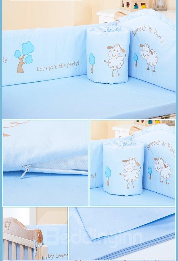 Blue Three Cute Sheep and Tree Baby Crib bedding Set