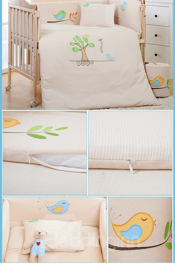 100% Natural Colored Cotton 7-Piece Crib bedding Set