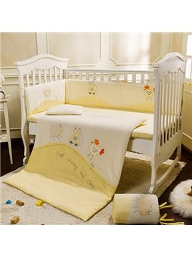 Lovely Sheep Cat and Chicken Pattern Crib bedding Set
