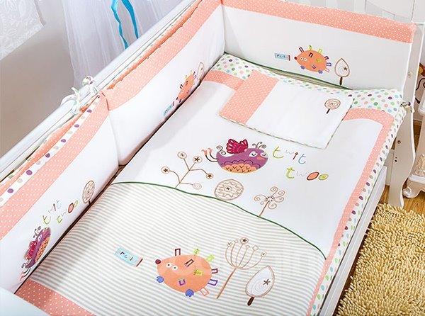 Cute Animals and Polka Dot Pattern 7-Piece Crib bedding Set