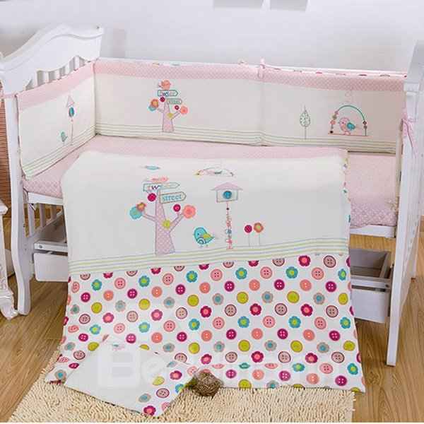 Small Bird and Tree Print 7-Piece Crib bedding Set