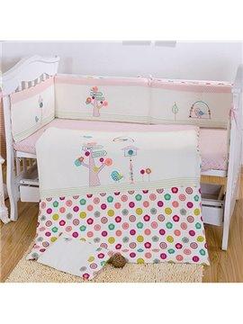 Small Bird and Tree Print 7-Piece Crib bedding Set