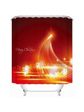 Shining Star and Snowflake Print Christmas 3D Shower Curtain