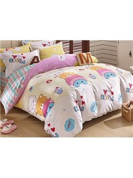 Animal Friends and Heart Shape Pattern Kids 3-Piece Duvet Cover Set