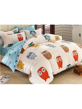 Super Cute Owls Pattern Kids 3-Piece Duvet Cover Set