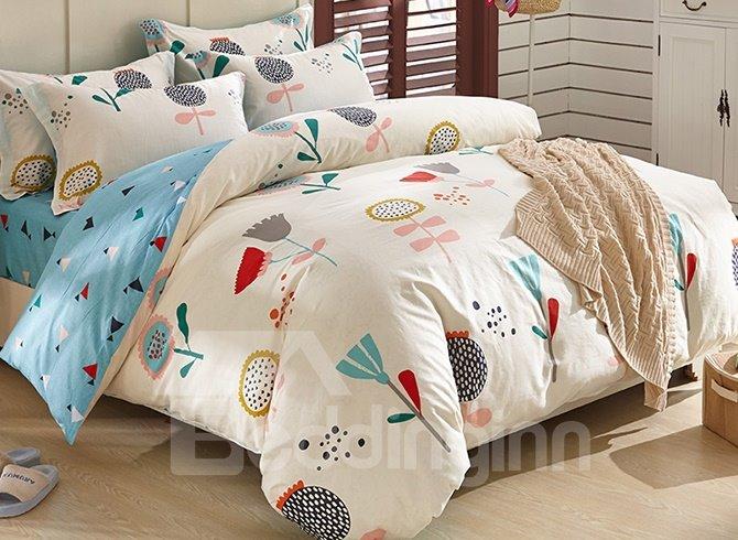 100% Cotton  Beautiful Flowers Pattern Kids Duvet Cover Set