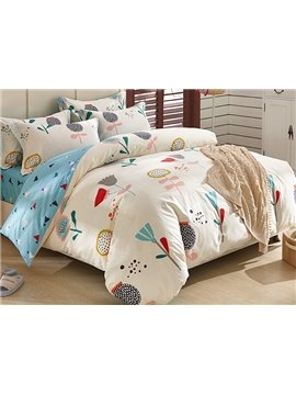 100% Cotton  Beautiful Flowers Pattern Kids Duvet Cover Set