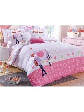 Pink Romantic Heart Shape and Persons Print Kids 3-Piece Duvet Cover Set