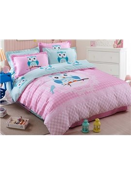 Pink Cute Owl on The Branch Print Kids 3-Piece Duvet Cover Set